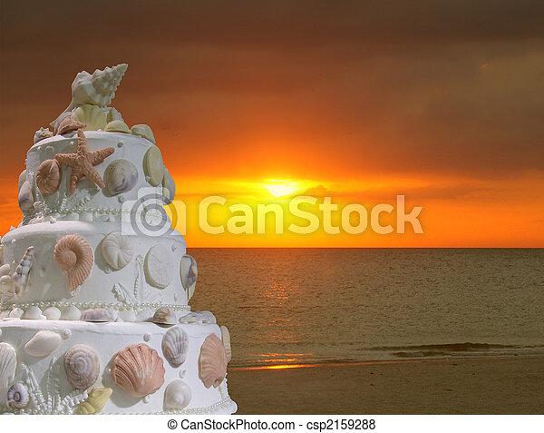 Stock Photo Wedding on the beach cake invitation