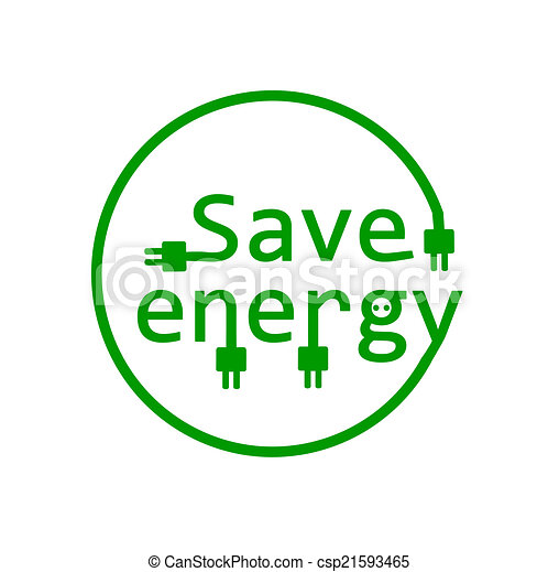 Clip Art Vector of Save energy - vector illustration ...
