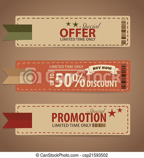 Vector Clipart Of Sale Coupon Voucher Tag Vintage Style