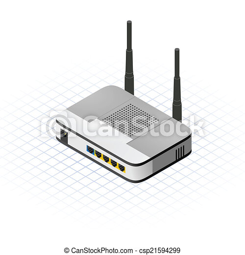EPS Vectors of Isometric Wireless Router - This image is a ...