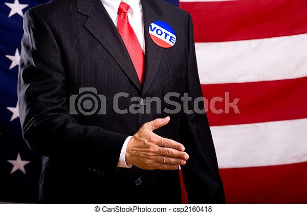 político, sacudida, Manos - csp2160418