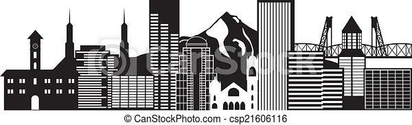 Portland Oregon Skyline Black and White Illustration - csp21606116