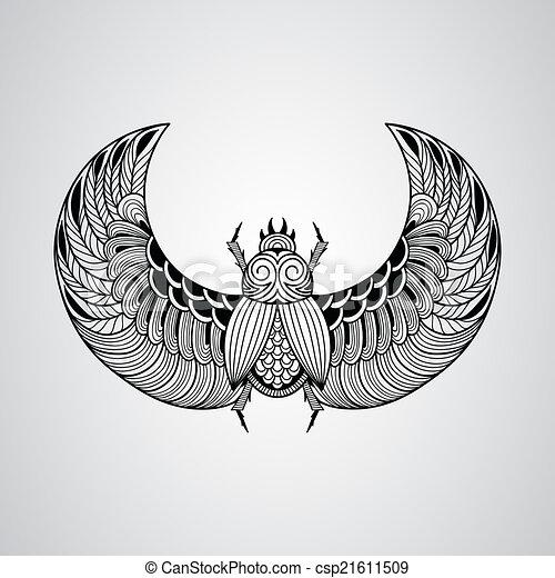 Vector scarab beetle, tattoo style - csp21611509