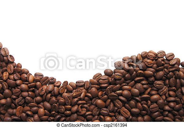 aromatic coffee beans on white background - csp2161394