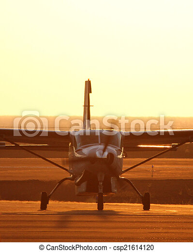 small plane taxing  - csp21614120