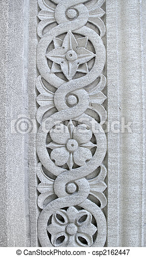 Picture Of Floral Pattern Carved Into A Stone Pillar Design Csp2162447 Search