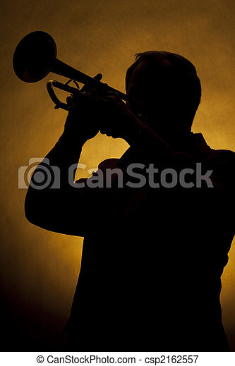 Trumpet Player Silhouette Yellow - csp2162557