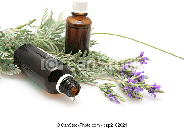 lavender oil and lavender flowers on white background - csp2162624