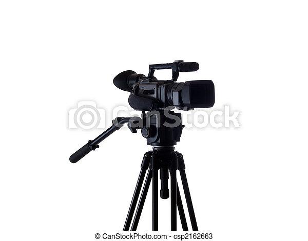 Black video camera mounted on tripod 3/4 view - csp2162663