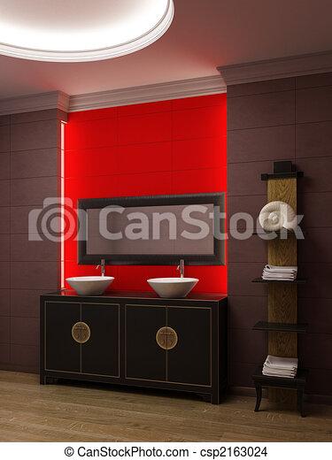 Illustration asiatique style salle bains int rieur for Salle de bain asiatique