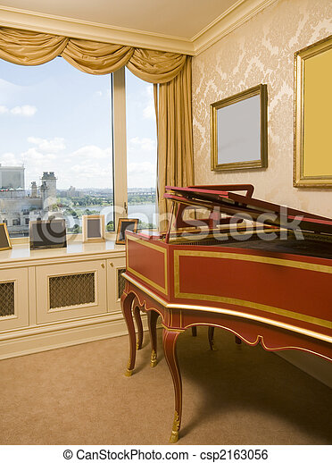 harpsichord in luxurious penthouse bedroom suite with view of the east river in new york city - csp2163056