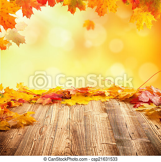 Autumn background with empty wooden planks