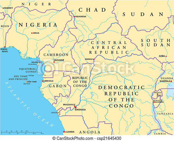 West Central Africa Political Map - csp21645430