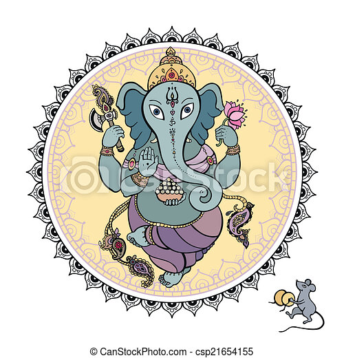 Lord Ganesha Hand drawn illustration. - csp21654155