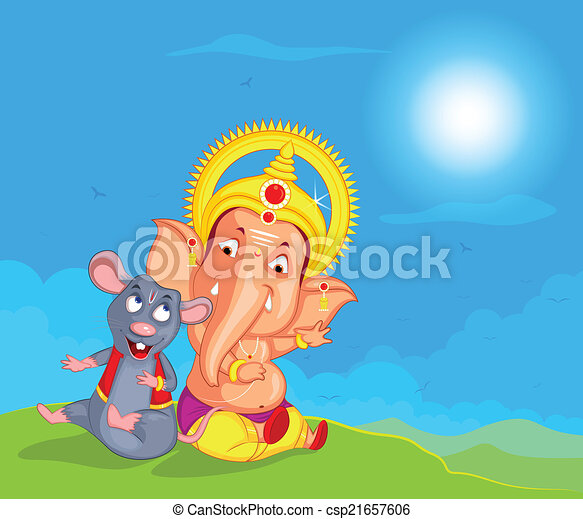Lord Ganesha in vector for Happy Ganesh Chaturthi - csp21657606