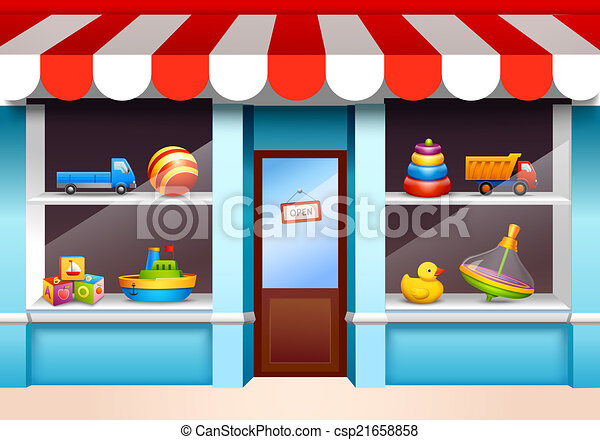 Clipart Vector Of Toys Shop Window Plastic Children Toys