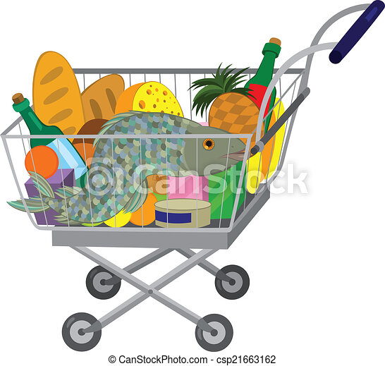 Full Grocery Cart Clipart Grocery store shopping cart