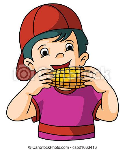 Vector Clip Art of Boy eat corn csp21663416 - Search Clipart ...