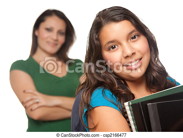 Hispanic Mother and Daughter Ready for School - csp2166477