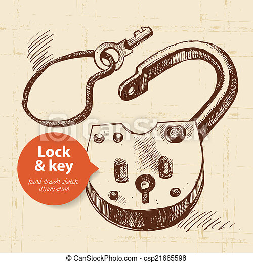 Vintage Key Clip Art EPS Vectors of Hand dr...