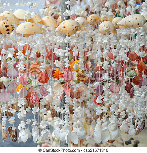 Mobile made from various shells for sale in Phuket, Thailand
