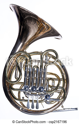 French Horn Isolated Against White - csp2167196