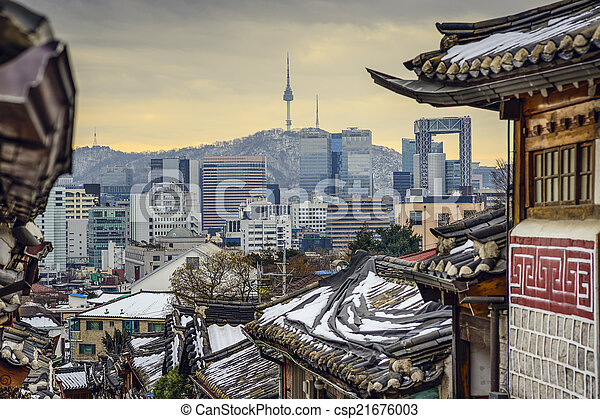 corea,  Seoul, orizzonte, storico,  distric, sud - csp21676003