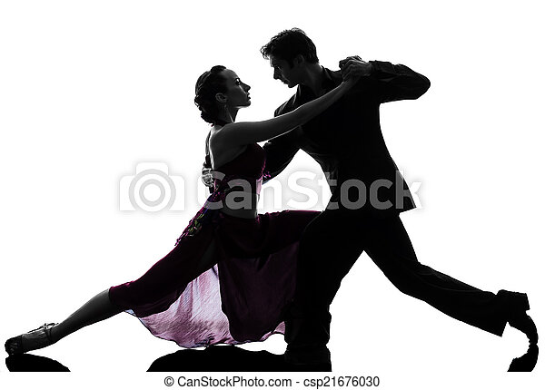 couple man woman ballroom dancers tangoing  silhouette - csp21676030
