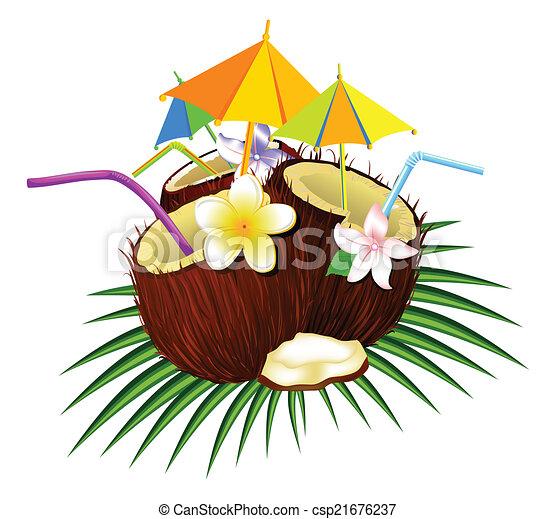 vektoren von kokosnuss cocktail cocktail kokosnuss tubules trinken csp21676237. Black Bedroom Furniture Sets. Home Design Ideas