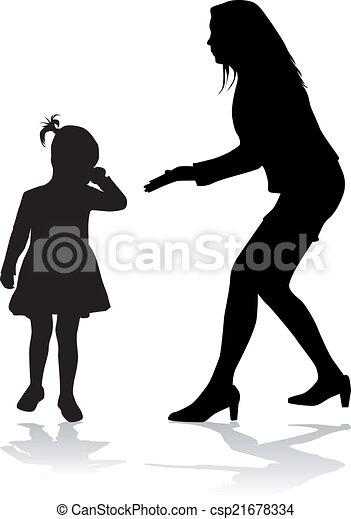 Family silhouettes - csp21678334