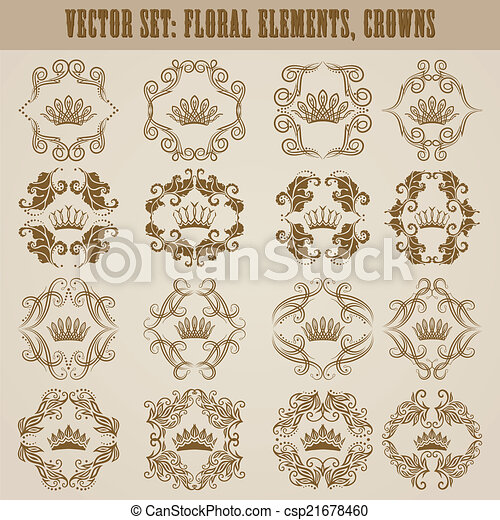 Victorian crown and decorative elements. - csp21678460