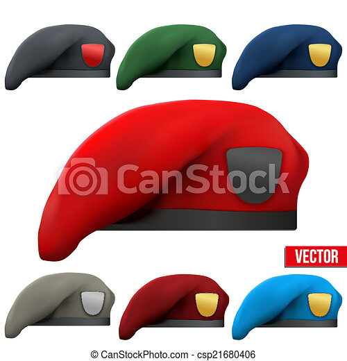 Vector Clipart of Set of Military colorful Berets Army ...