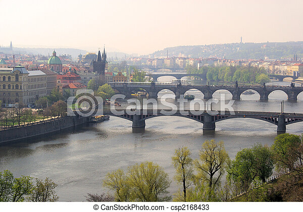 Prague bridges aerial view 03 - csp2168433