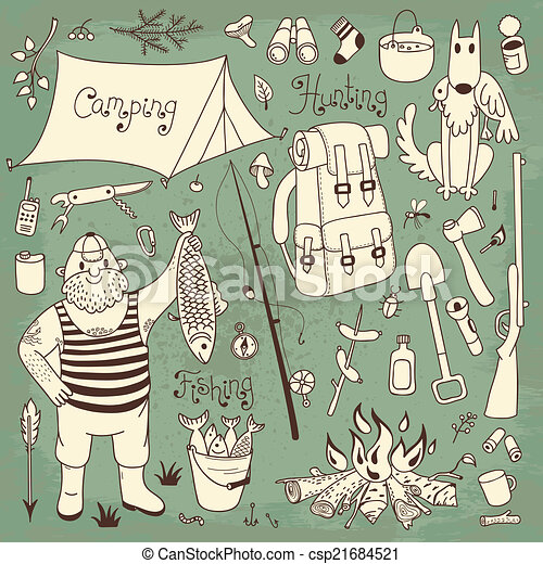 Vector Illustration of Fishing, hunting, camping set. Hand drawing ...