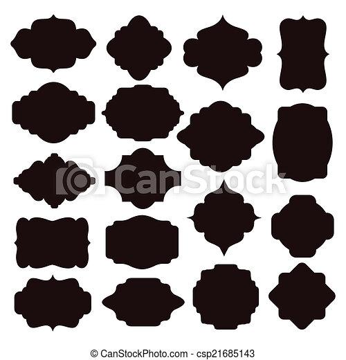 eps vektor von rahmen schwarz satz silhouette abzeichen gro satz csp21685143. Black Bedroom Furniture Sets. Home Design Ideas