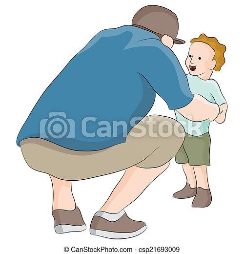 Dad Talking To Child - csp21693009