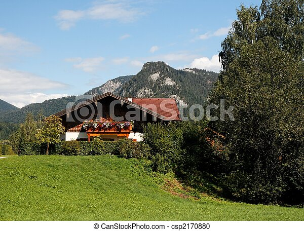 Alpine landscape with chalet - csp2170880