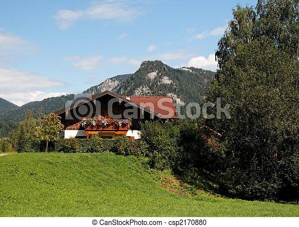 Alpine landscape with chalet - csp2170880