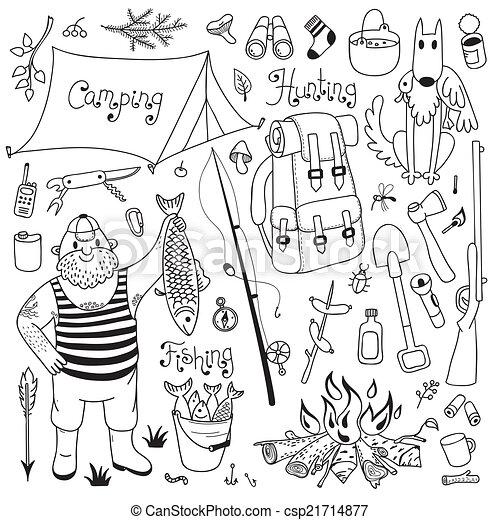 Hunting And Fishing Drawings