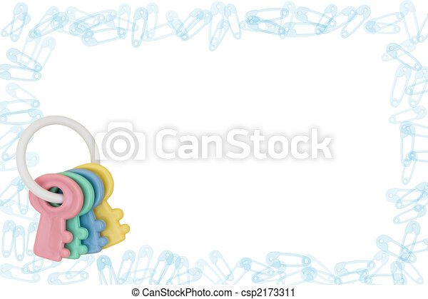 Diaper Pin Border and Rattle - csp2173311