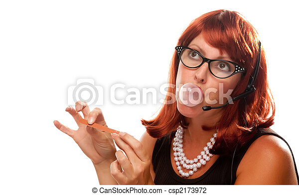 Red Haired Retro Receptionist - csp2173972
