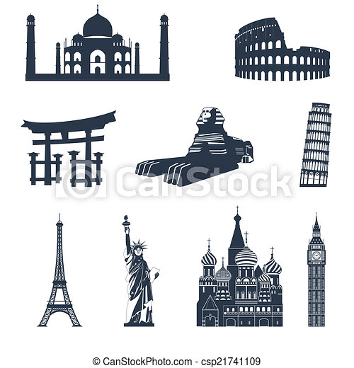 World Famous Clipart World Famous Landmarks Black