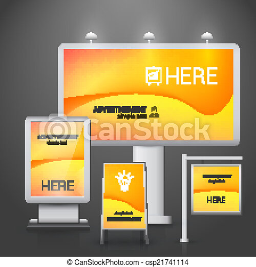 Vector Clip Art of Outdoor advertising design - Orange ...