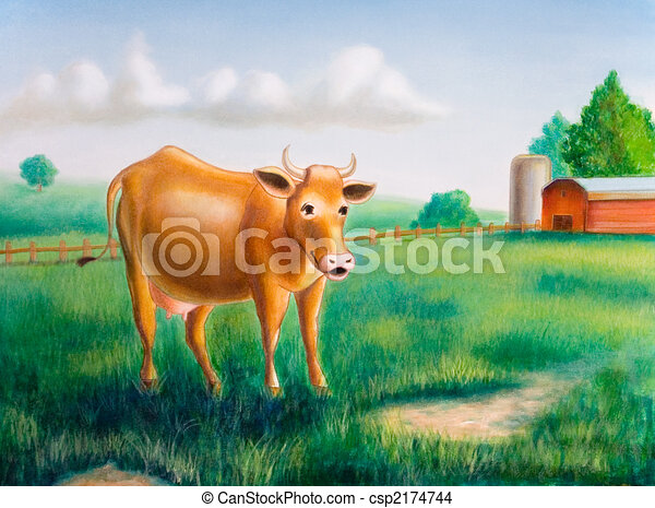Cow and farm - csp2174744