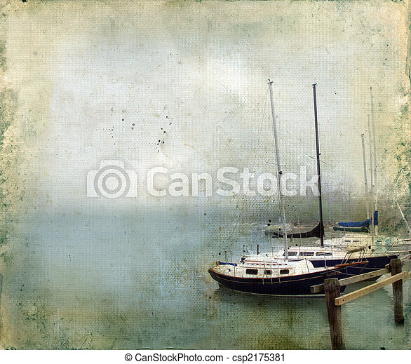 Sailboats Docked in a Foggy Harbor on Grunge Background - csp2175381