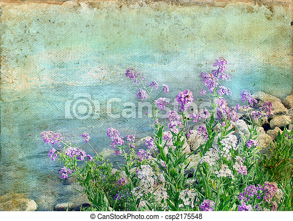 Spring Flowers on a Grunge Background - csp2175548