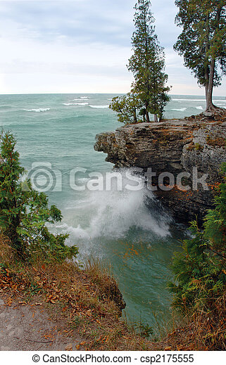 Lake Michigan Waves Along Coast - csp2175555