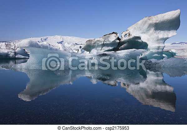 Iceberg and Reflection on the Lagoon, Jokulsarlon, Iceland - csp2175953