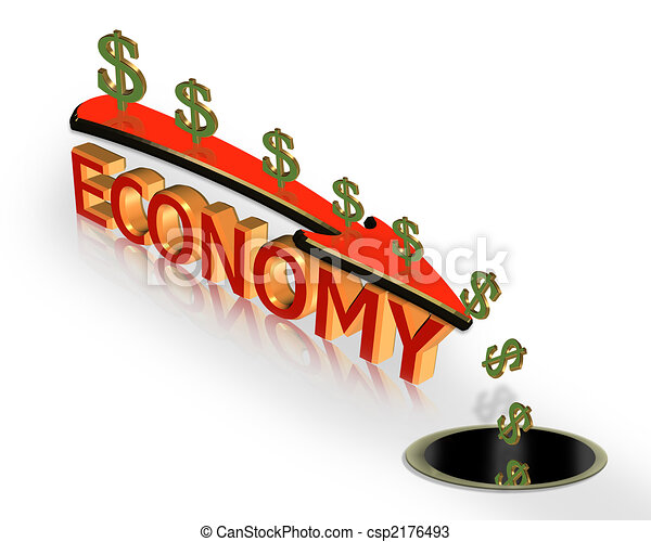 Economy Crisis recession 3D Graphic - csp2176493