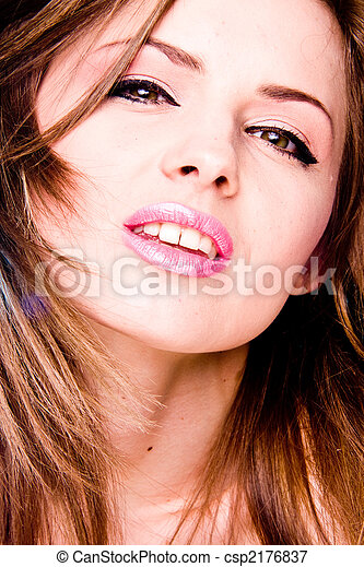 Portrait of young adult woman with health skin of face - csp2176837